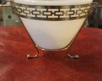 Mid Century Modern Ceviche Serving Bowl in Gold Carrier