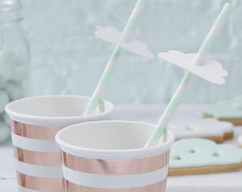 Cloud Paper Straws | Hello World Straws | Mint & White Paper Straws | Baby Shower Decoration | Baby Shower Tableware | Clouds Birthday Party