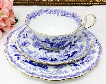 "Royal Albert Crown China ""Mikado"" teacup, saucer and dessert plate trio"