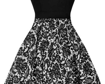 Black and white lace tea dress