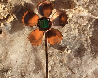 Copper and Emerald Flower Pin