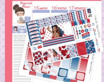 Mini H Planner Fourth of July Weekly Stickers #71
