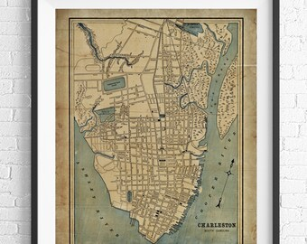 Charleston Map Print, Vintage Map Art, Antique Map, Wall Art, Charleston Art, History Gift, Charleston Print, Wall Decor, Charleston SC