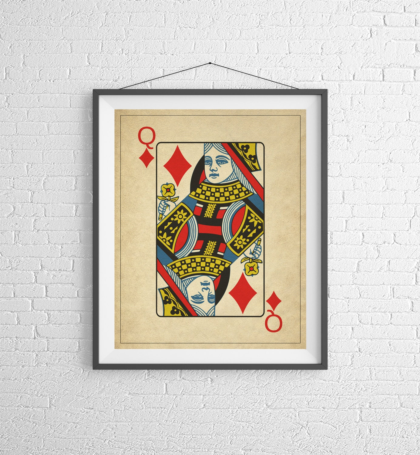 Queen of Diamonds, Playing Card Art, Game Room Decor, Game Room Art ...