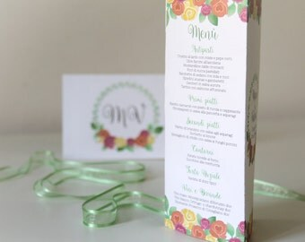Floral Wedding Table Menu | Floral Wedding Menu