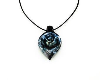 Midnight Blue Rose Pendant