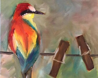 Colorful Bird on Clothesline Original Oil Painting