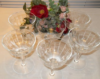 Set of 6 Etched Stemware