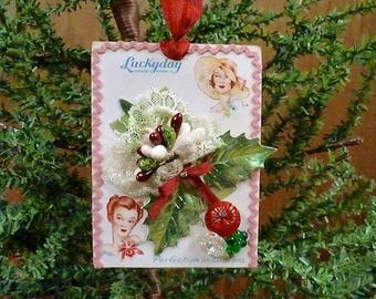 Button Card Ornament, Handmade Ornament, Vintage Button Card, Button Ornament, Upcycled Ornament, Vintage Inspired Christmas