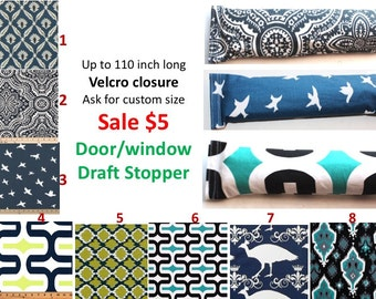 SALE Door Draft stopper any length option Window Draft stopper Blue Green Door Snake Wind Blocker Window Snake Empty stopper