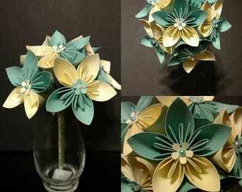 Teal & Cream Paper Flower Bouquet