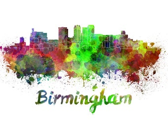 Birmingham skyline watercolor canvas,Birmingham Canvas Print, Birmingham wall art, Canvas Wall Art, Watercolor Skyline, Gift Ideas