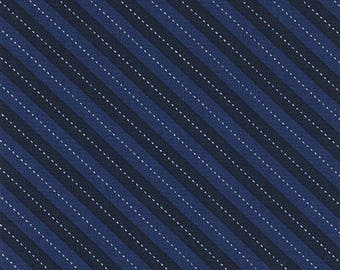 Up & Away Balloon Stripe Blue Fabric by Michael Miller