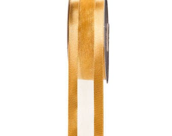 Organza Ribbon - Satin Edge - Gold - 1-1/2 inches - 20 yards