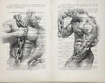 Erotic  poster  / Muscle nude boys body muscular / Printing Antique  book  decor interior picture ART erotic souvenir