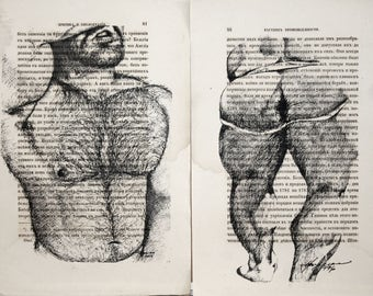Erotic Gay poster  / Muscular men hairy body / nude   mens  / 2 pages Printing Antique  book  decor interior picture ART erotic souvenir