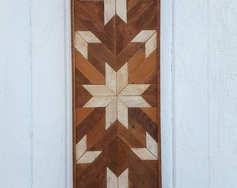 Reclaimed Wood Wall Art, Decor, Lath Art, Geometric, Mosaic, Rustic Design, Natural,  Home Decor, Gift Ideas