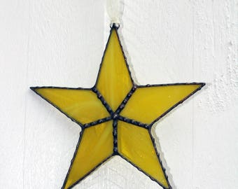 Yellow Stained Glass Star Suncatcher Window Ornament