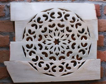Hand Made Wooden Mandala- Linden Wood- Wall Decoration- Wooden Picture