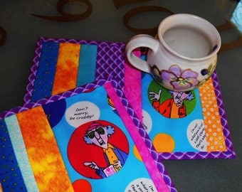 "MAXINE Mug Rugs Handmade, 7-1/2"" x 11""  Set of 2 Snack Mat, Mini Quilt, Mouse Pad, Mug Mat, Quilted Gift, Cup Carpet, Candle Mat, Placemat"