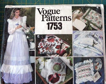 Vintage Vogue Pattern 1753 Retro 1970's Vintage Floor Length Apron & Gift Items•Sachets•Pillow•Hanger Covers•Sewing•Sewing Pattern•Craft•DIY