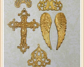 6 pieces mixed lot raw brass stampings, filigree, embellishments E139