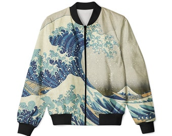 The Great Wave, Kanagawa Katsushika Hokusai painting, Printed bomber jacket,Unisex bomber-jacket, All sizes, full print, Art