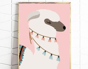llama digital art, llama printable art, llama digital download, llama download art, llama art print, llama poster files, llama illustration