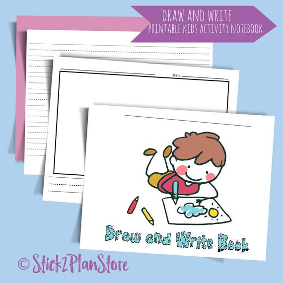 Printable Draw and Write Kids Activity Book. Practice writing notebook for young learners