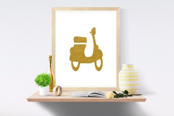 Vespa, Vespa Download, Motor Scooter, Motor Scooter Art, Digital Scooter, Retro Scooter, Digital Art, Printable Art, Vespa Art, Scooter Art