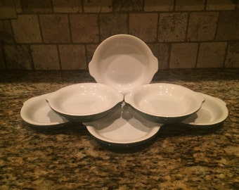 Vintage White and Green Round Au Gratin Serving Dishes By Hall, #513