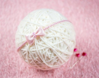 Pink little princess newborn headband - photo prob