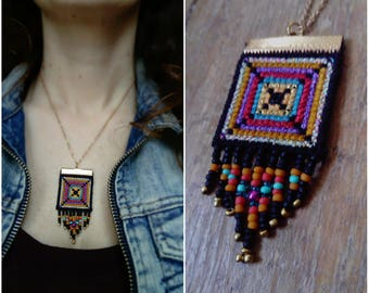 Ethnic embroidered square pendant necklace