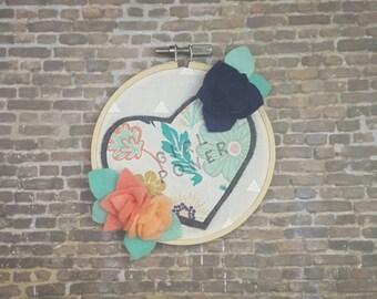 Girl power stamped hoop art with felt flowers, feminist hoop art, 4 inch hoop