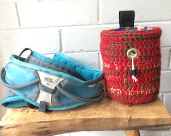 Handmade colourful crochet Flame Red Climbing Chalk Bag for rock climbing and bouldering, unique sewn gift for climber