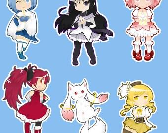 Madoka Magica Keychains (Madoka, Mami, Sayaka, Homura, Kyoko, Kyubey)