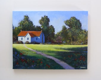 Original painting - 'Cottage by the woods': Acrylic, 45cmx35cm, quaint old cottage, woodland, flowers, trees, sunshine and shadows.