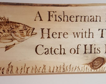 Sports - Sayings and Quotes, Gift for Him- home and living-Garage sign- Signs for him- man cave- fishing-primitive signs