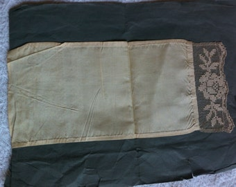 antique hand made lace and silk/satin material piece 1800s