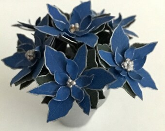 Dollhouse Miniature Blue and Silver Poinsettia Artist Made