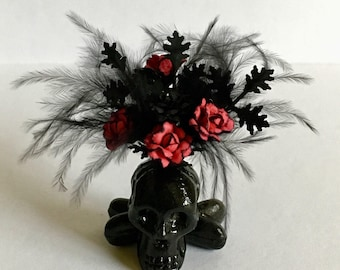 Dollhouse Miniature Haunted Skull Foral Arrangement Red and Black Artist Made