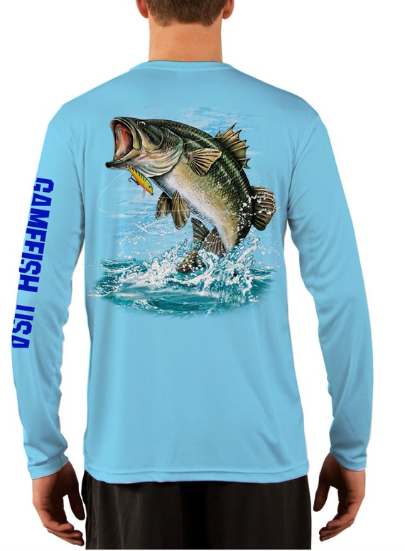 Items similar to men 39 s upf 50 long sleeve microfiber for Moisture wicking fishing shirts