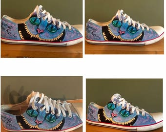 Hand painted custom shoes. Cheshire Cat inspired
