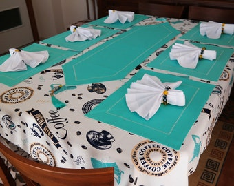 20pcs Teal Tablecloth Linen Complete Dining Set For 6 Seat Coffee Themed  Rectangle Dinner Table