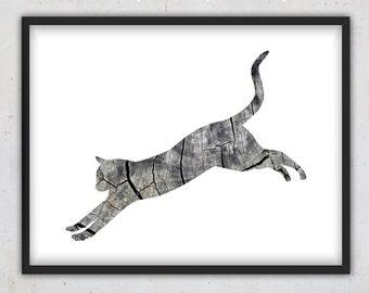 Printable Cat Art Print, Digital Art Print, Rustic Home Decor Cat, Instant Download Print, Grey Wood Print, Animal Print, Cat Wall Art