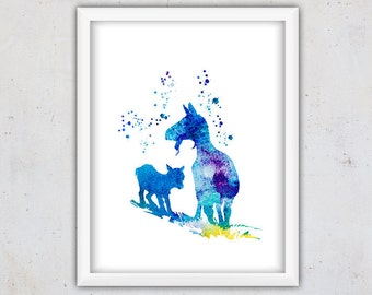 Nursery Farm Animals Print, Printable Digital Download, Goat and Kid, Kids Poster, Watercolor Nursery Digital Art, Instant Download Wall Art