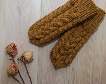 Mittens knit mittens braid mittens mittens with pattern mittens with plaits knitted mittens wool mittens choco mittens cappucino mittens