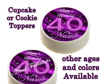 40th Birthday Edible Images Cupcake, Cookie Toppers