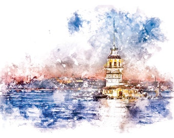 Maiden's Tower, Istanbul; Print; Poster; Art; Architecture; Abstract Art; Fine Art; Wall Art; Watercolor Painting; Home Decor; Office Decor