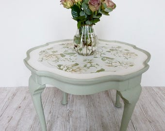 Hilary - vintage coffee table | green | floral | by Olive Jennings Furniture